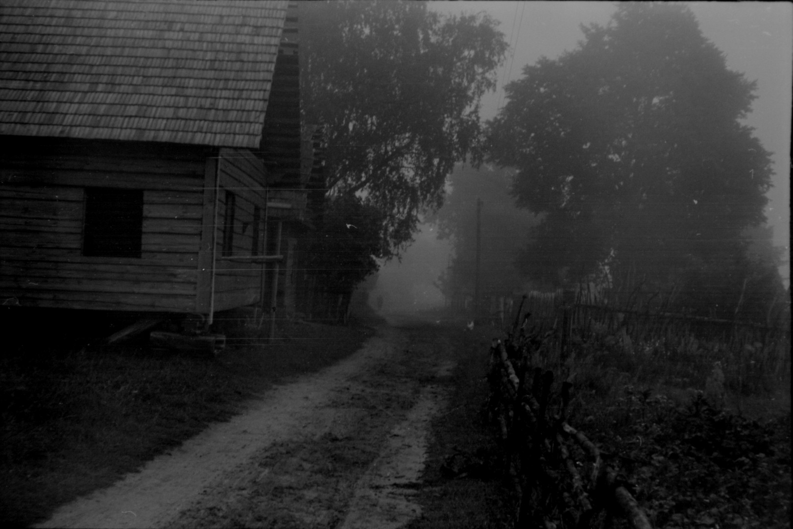 LTRFt D 6632 Street in unknown village (the photograph might be taken in Dieveniškės, Žižmai, Pupiškės, or Šilinė in Šalčininkai district, 1957)